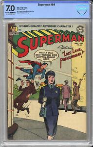 SUPERMAN #84 CBCS F/VF 7.0 - LOIS LANE POLICE WOMAN - 1953 - Beautiful Book