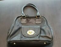 EMMA FOX Cambridge Black Leather Front Lock Satchel Bag