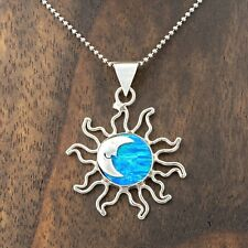 Sterling Silver Blue Opal Sun Moon Pendant Jewelry Taxco Mexico