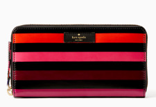 Kate Spade Stripe Zip Around Wallet DAYCATION NEDA **NWT $158**
