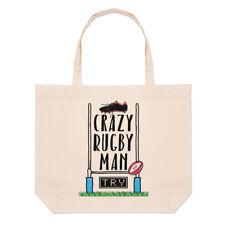 Crazy Rugby Man Large Beach Tote Bag - Funny League Union Shopper Shoulder
