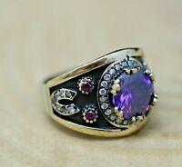 Horseshoe Amethyst Deteailed Handmade Ladies Ring 925 Sterling Silver Size 6-12