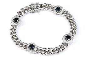 3,28 ct. Diamant Saphir Gold Armband 750 Weißgold 64 Achtkant 4 Saphire 18,5cm