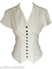 Ivory White Vintage Retro 40s Gothic Steampunk Gathered Blouse Shirt Top