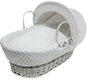 White Wicker Baby Moses Basket - Luxury Padded WHITE Dimple & Deluxe Bedding Set