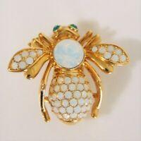 NEW Joan Rivers Crystal Opal BIRTHSTONE BEE PIN Large Brooch October Rhinestones