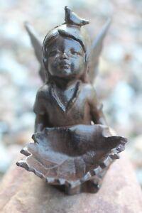 Gusseisen Engel Elfe Fee Metall Garten Deco braun Figur Skulptur