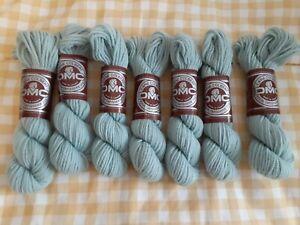 DMC Laine Colbert Wool Tapestry Yarn 20g #7322 Lot 7 Skeins Light Blue Green