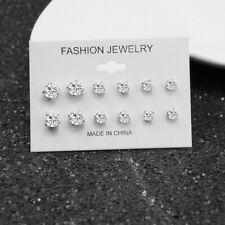 6 Pairs Fashion Rhinestone Crystal Pearl Earrings Set Female Ear Stud Jewelry