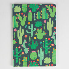 A5 sized Notebook - Green Colourful Cactus design, Plain paper. Office stationer