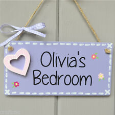 Girls bedroom sign, kids bedroom plaque with HOLLOW HEART in lilac