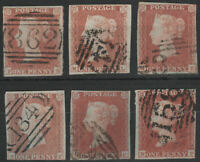 1841 SG8 1d RED BROWN (SHADES) PLATED 4 MARGINS GOOD/FINE USED SELECTION 6
