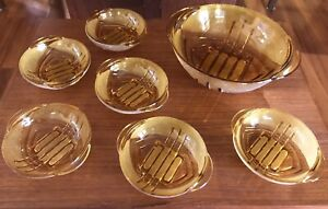 Vintage Stolze  Art Deco Amber Part Frosted Glass Desert Bowl & 6 Small Bowls