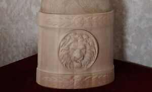Wooden pedestal for gryphon statue, oak carved, decorative element.