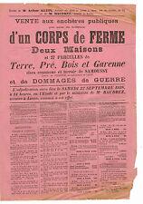 AISNE (02) / SAMOUSSY / VENTE D'UN CORPS DE FERME TERRES BOIS ET GARENNE EN 1928