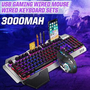 Mechanisch Gaming Tastatur und Maus Set Kabellos Keyboard Mouse LED Beleuchtet