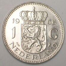 1968 Netherlands Dutch One 1 Gulden Juliana Coin XF+