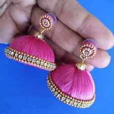 Pink Silk Thread Handmade Fashion Indian Partywear Earrings Jhumka Jhumki