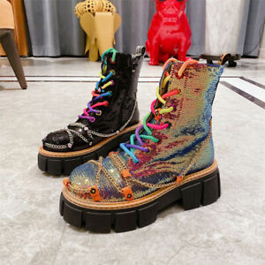 High-top Boots Women Colorful Sequins Cross-chain Boots Thick-soled