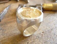 Chevalière argent ronde massive avec pièce or 20 Francs Napoléon tête laurée