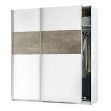 Armario dos puertas correderas, ropero vestidor, 180 cm, Blanco y Roble, Aikos