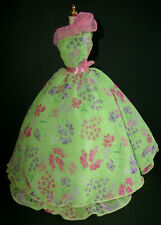 DRESS MATTEL SIMPLY CHARMING BARBIE GREEN WITH FLORAL PRINT ONE SHOULDER GOWN
