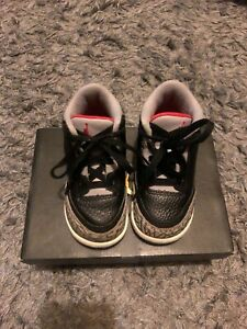 Nike Jordan Trainers Size Infant UK 6.5 Black/ Fire Red - Cement Grey