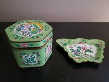 Vintage Chinese Cloisonne Trinket Box and Ash Tray with Dragon and Floral Design