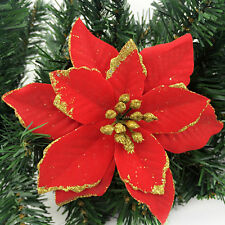 "Red 5.1"" Christmas Fake Flower Xmas Tree Hanging Pendant Ornaments New Year"