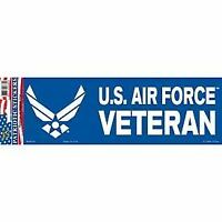 "United States Air Force Veteran Bumper Sticker 3.25x9"" Blue Logo Decal"