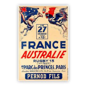 Affiche Poster Rugby vintage France-Australie XV de France 40cmX60cm Top 14