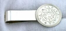 Pure .925 Sterling Silver Money Clip Ebs1824 1 9/10 Inch Happy Sun Dial Real