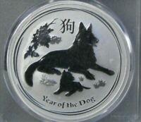 2018 1OZ Silver .9999!! Lunar Year of The Dog $1 BU, Mint Only 300,000