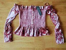 Greyson Women's Off The Shoulder Crop Top Velvet Rose Ren Faire Medium M