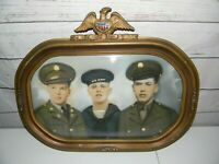 """Vintage Oval Convex Bubble Glass Gold Wood Frame With Photo 18.5"""" X 15"""" READ"""