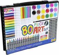 80 Piece Childrens Art Set & Gift Case Paints Crayons Pastels Pens Grafix 0038