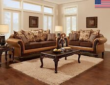 ISABELLA Living Room Collection Sofa Loveseat 2pc Set Camel Brown Couch USA