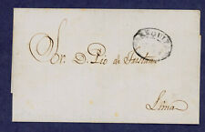 Peru 1852 Prephilatelic Cover Arequipa to Lima- Fancy Oval Ring Cancel