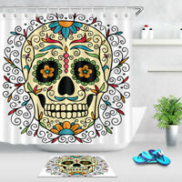 "72"" Bathroom Waterproof Fabric Shower Curtain Set Mexican Ornamental Sugar Skull"