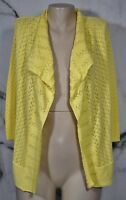 ONE A Yellow Open Cardigan Sweater Small 3/4 Sleeves Cotton Blend Open Weave