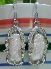Beautiful! 12X26mm Natural White Pearl Earring AAA