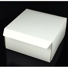 "25 Fold Flat Cake Boxes 8""x 8""x 3"" CupCake Muffin White Cardboard Bo"