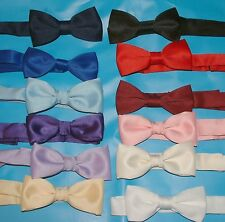 BOYS BOW TIES,TIE WITH BAND FASTENER LOADS  OF COLOURS  UK MADE