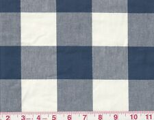 """2.25"""" Check by P Kaufmann Drapery Upholstery Fabric Checkmate Cadet Blue White"""