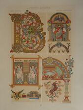 GRANDE Litho DÉCORATION ARCHITECTURE CELTIQUE CELTIC BYZANCE 1860 NAPOLÉON III