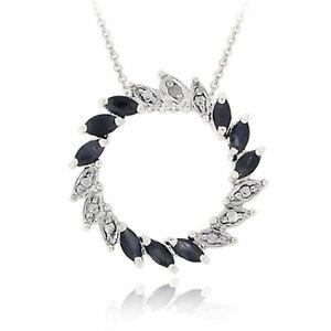 "925 Silver Sapphire & Diamond Accent Circle Pendant, 18"""