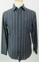 ORIGINAL PENGUIN Classic Fit Cotton Blend Long Sleeve Shirt, Small, Gray Stripes