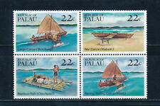 PALAU, Scott # 67-70 (70A), BLOCK OF CANOES & RAFTS, MINT NEVER HINGED