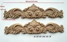Wood Carved Ornament, Set of 2 pc, Onlay Applique Sticker Home Decor Furniture