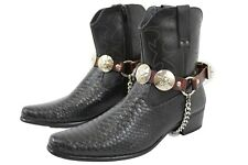 Men Biker Boot Silver Chains Pair Brown Leather Strap Texas Lone Star Charm USA